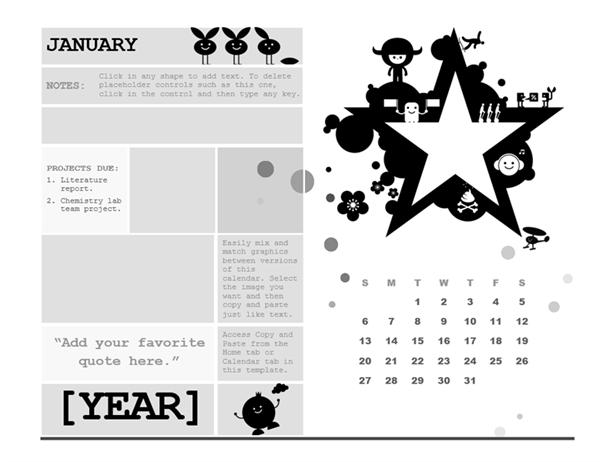 One-month student calendar (Sunday start, star design)