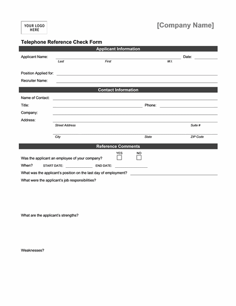 Telephone reference check form - Office Templates