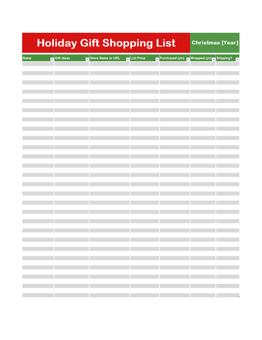 Gift shopping list
