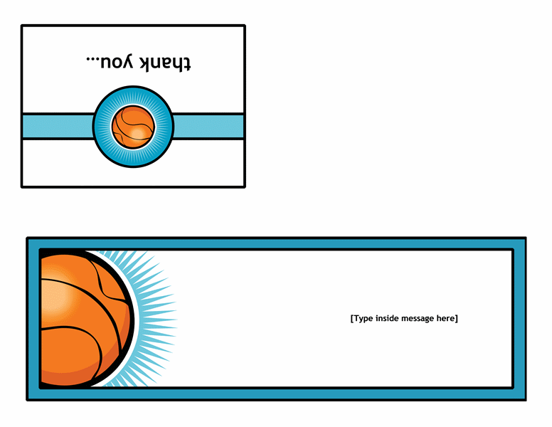 Thank you card (with basketball, quarter-fold) - Office Templates