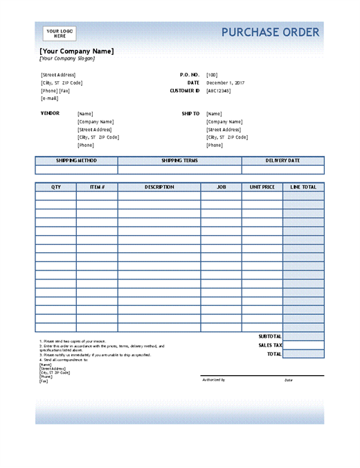 Purchase Order (Blue Gradient Design)  Microsoft Work Order Template