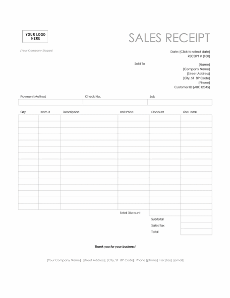 Sales receipt (Simple Lines design)