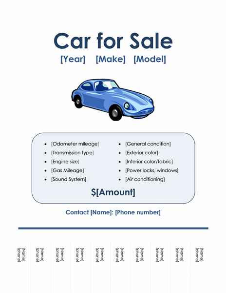 Car For Sale Flyer  Car For Sale Sign Template Free