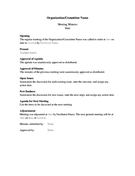 Minutes For Organization Meeting (long Form)  Formal Agenda Format