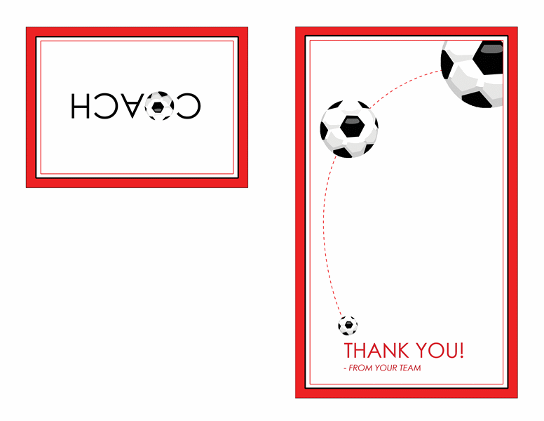 Thank you card for soccer coach (quarter-fold)