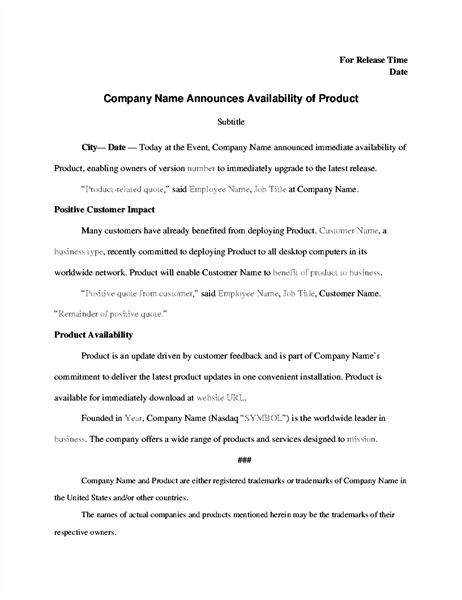 film press release template - press release with product announcement office templates