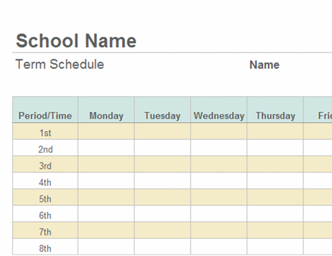 Schedules for College school schedule template