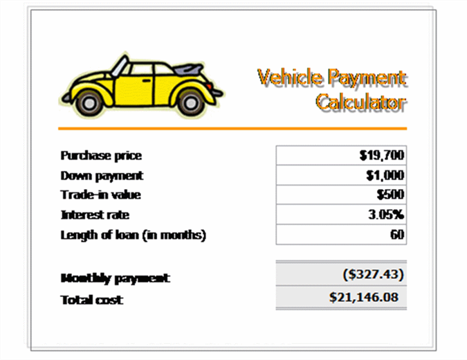 Vehicle loan payment calculator