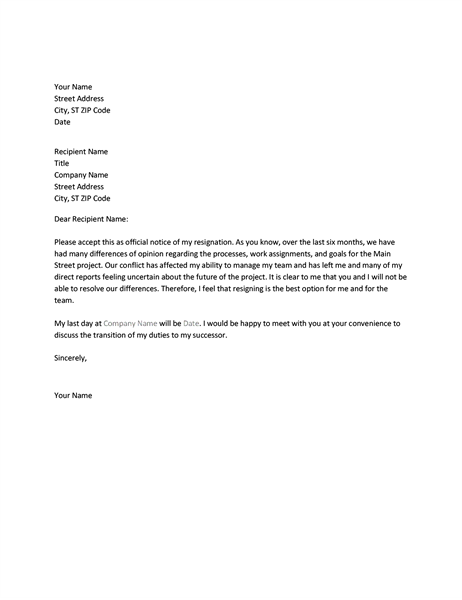 Letter of resignation due to conflict with boss