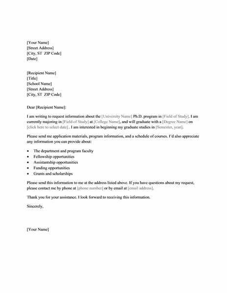 letter requesting college program information
