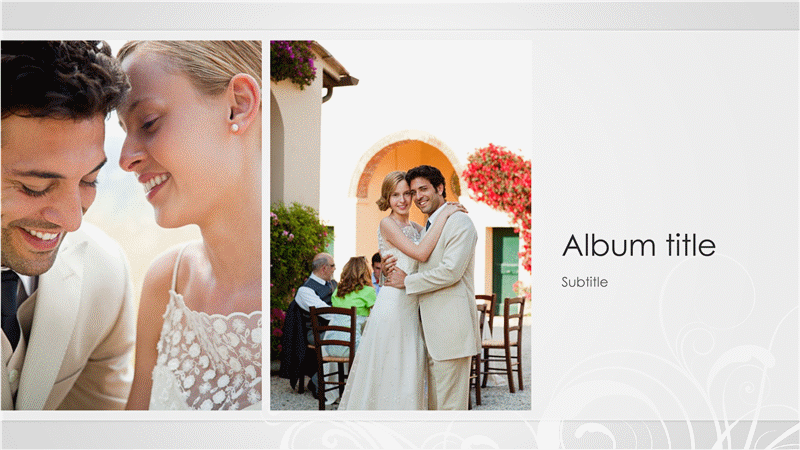 Wedding photo album, silver baroque design (widescreen)