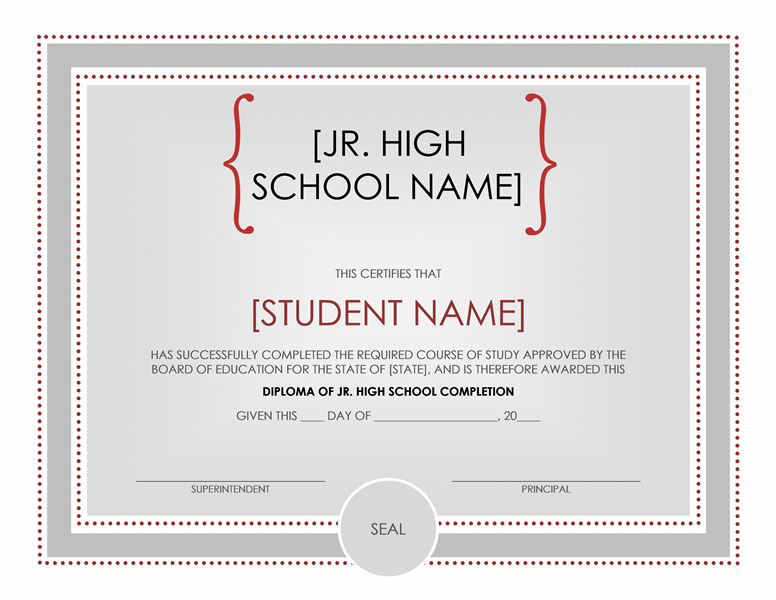 Jr high school diploma certificate Office Templates – School Certificate Format