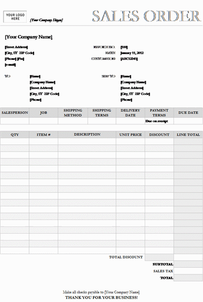 Sales order (Garamond Gray design)