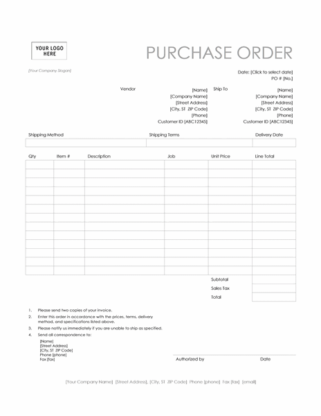 Purchase order (Simple Lines design)