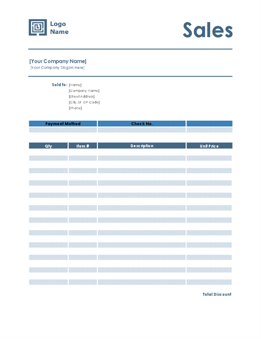 Sales receipt (Simple Blue design) - Office Templates