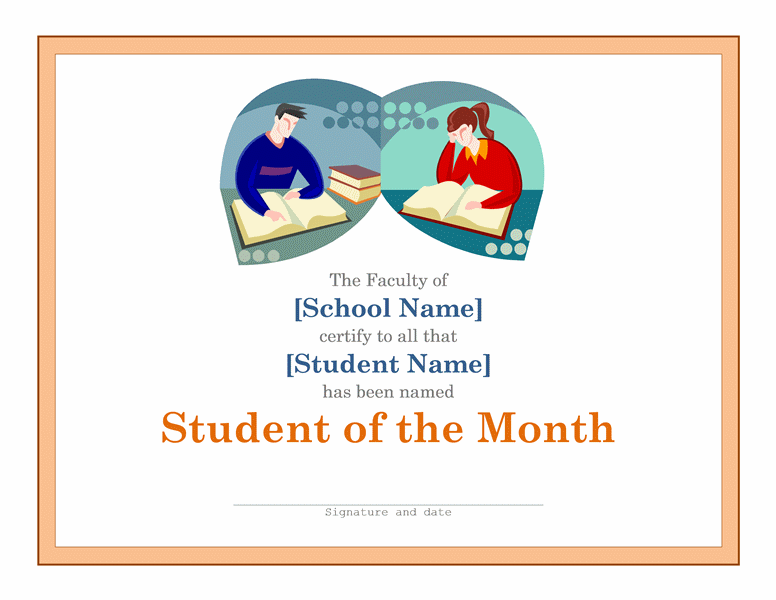 Basic certificate for student of the month