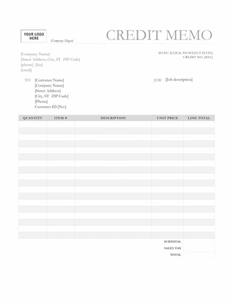 Credit memo (Garamond Gray design)