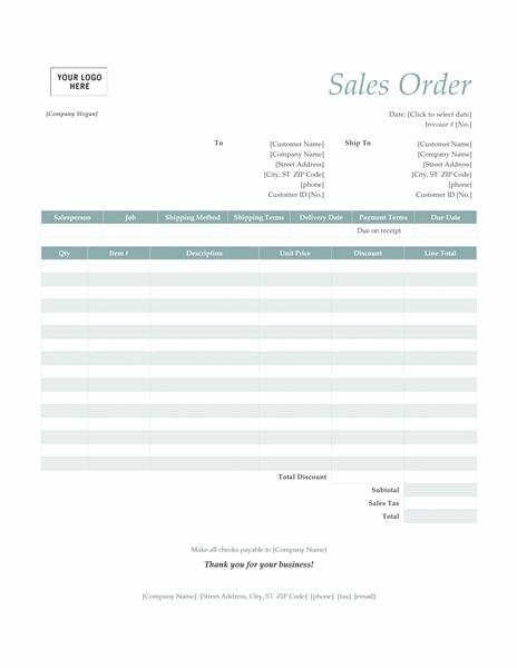 Sales order (Simple Blue design)