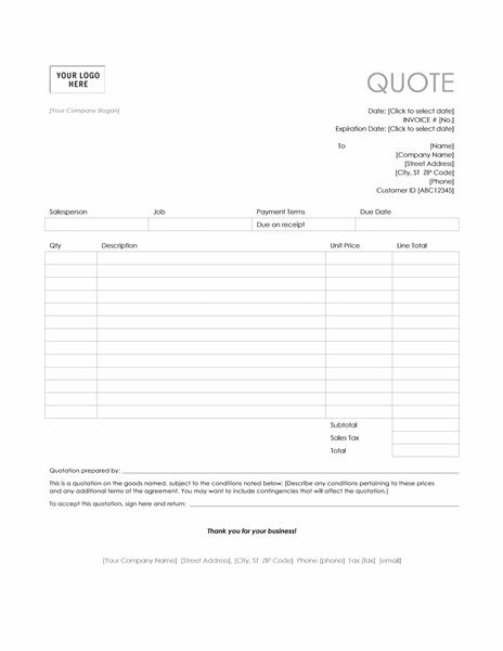 Service quote (Simple Lines design)