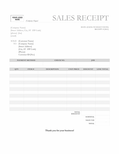 Sales receipt (Garamond Gray design)