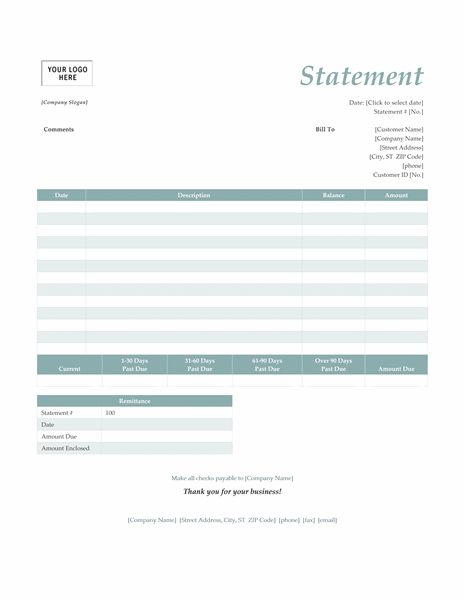 Billing statement (Simple Blue design)