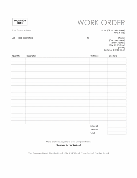 Work order (Simple Lines design)