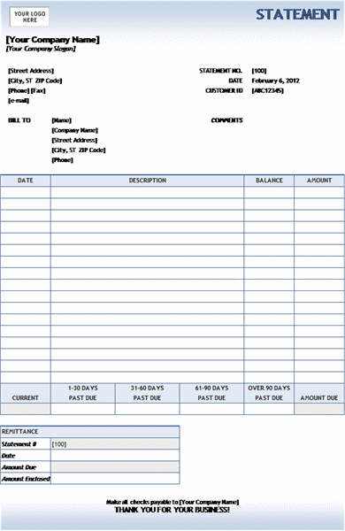 Billing statement (Blue Gradient design)