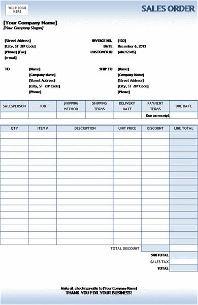 Sales order (Blue Gradient design)