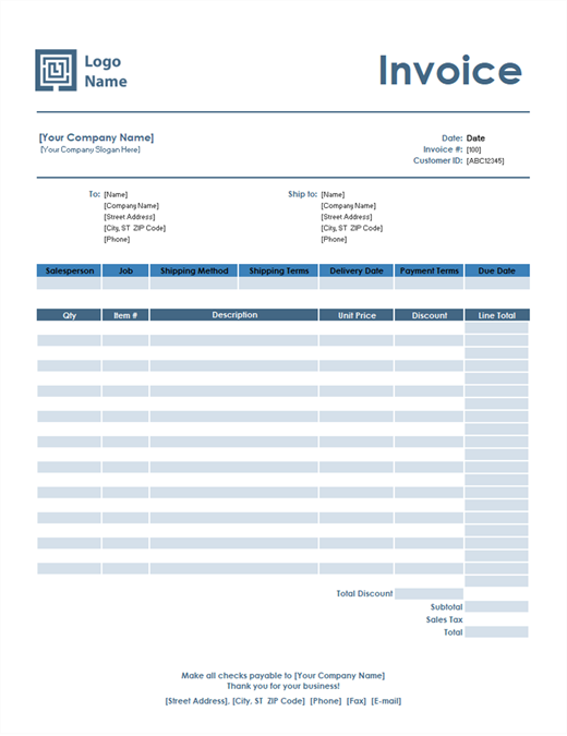 Sales Invoice (Simple Blue Design)  Sales Invoice Example