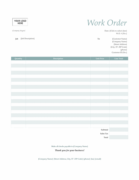 Work order (Simple Blue design)