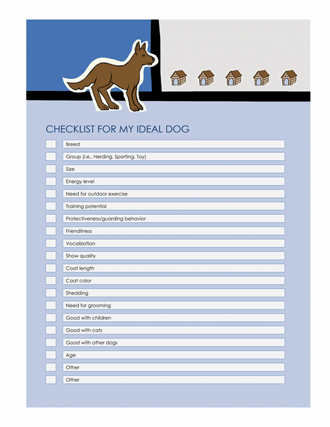 Checklist for my ideal dog
