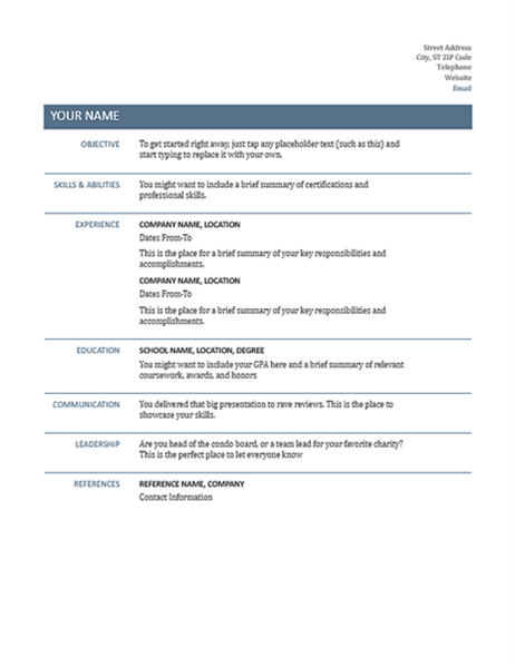 basic resume timeless design