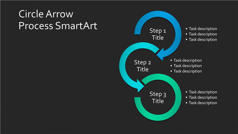Circle Arrow Process Chart SmartArt Slide (blue-green on black, widescreen)