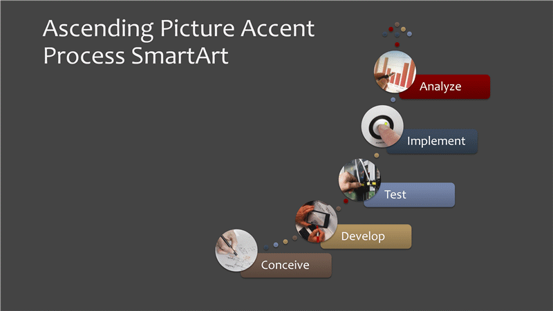 Business process chart with ascending picture accent (multicolor on gray, widescreen)