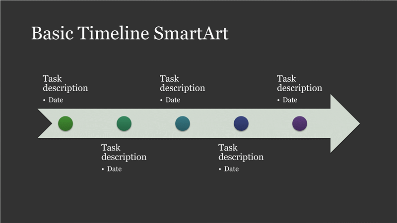 Timelines office business timeline smartart diagram slide white on dark gray widescreen toneelgroepblik