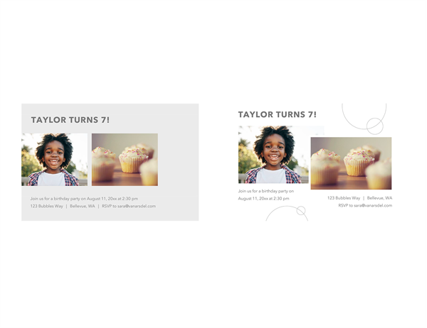 Birthday party invitation postcards with photos (2 per page)