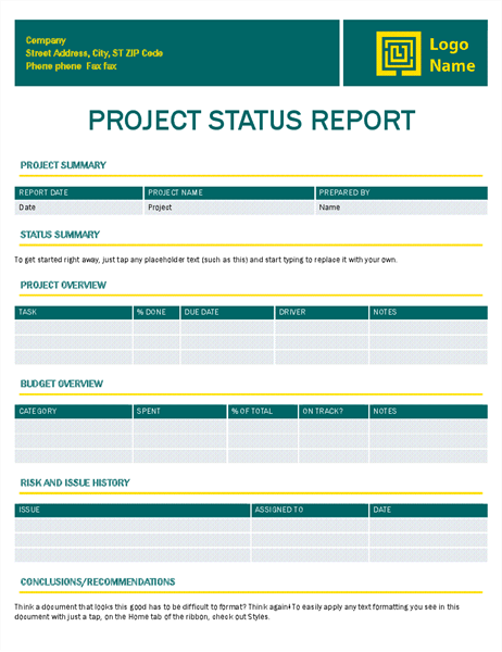 Project status report Timeless design Office Templates – Status Report Template