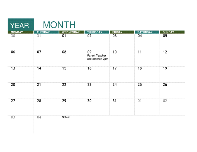 Academic Calendar Any Year Office Templates