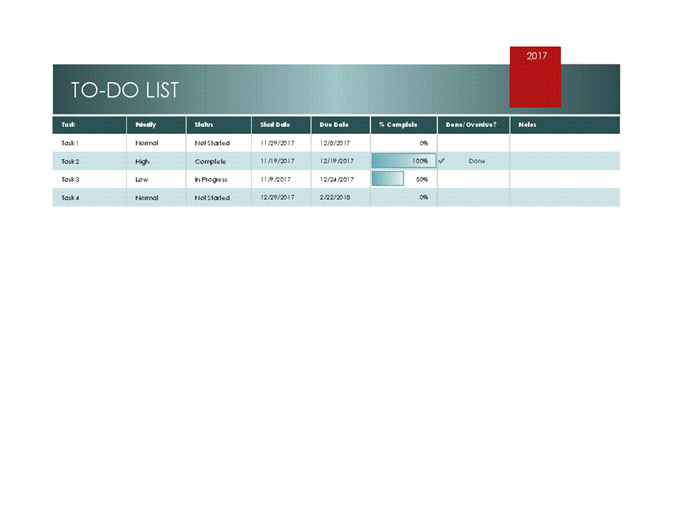 Featured Excel Templates – Sample to Do Checklist Template