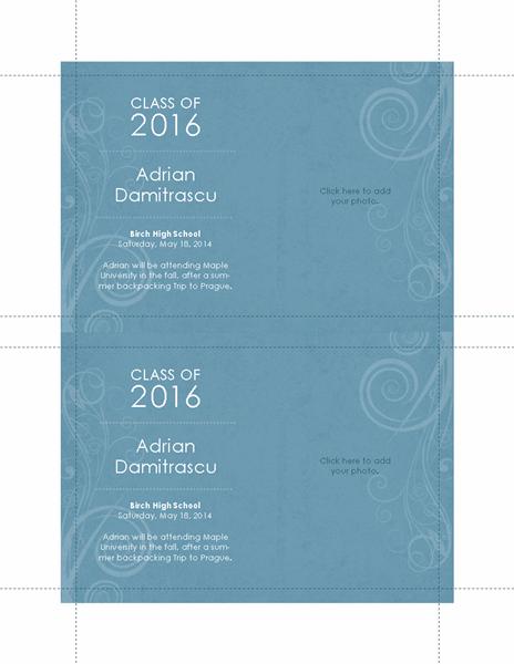 Graduation announcements (blue swirl design, 2 per page)
