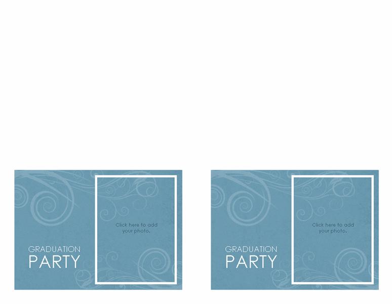 Graduation party invitations (blue swirl design, 2 per page)