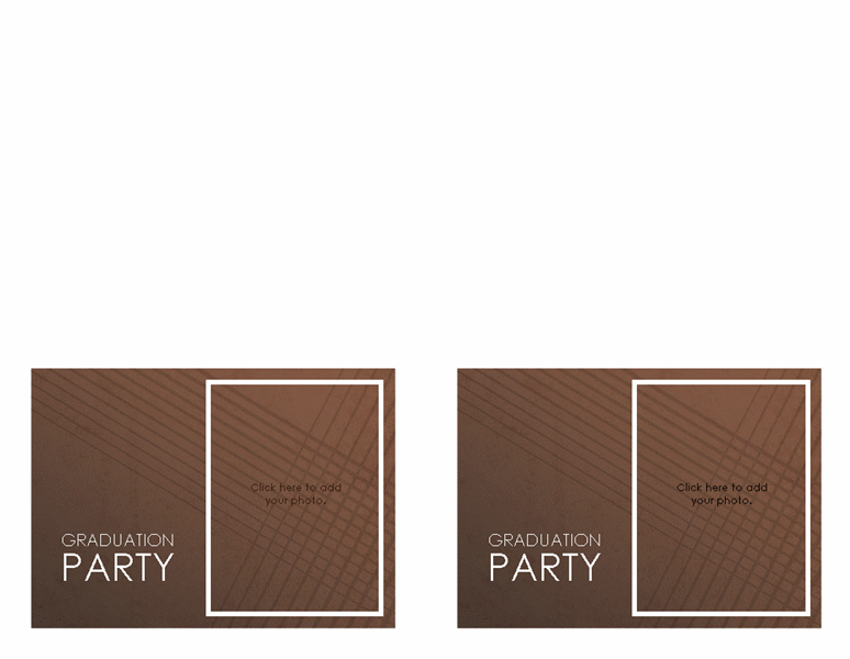 Graduation party invitations (elegant brown, 2 per page)