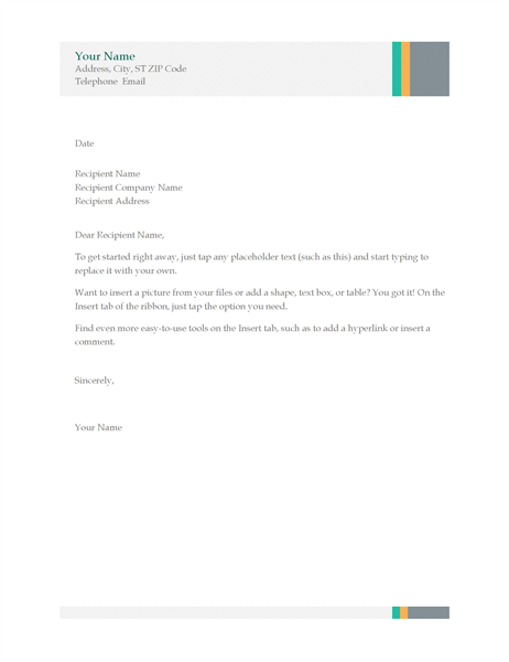 business letter sales stripes design - Cover Letter Letterhead
