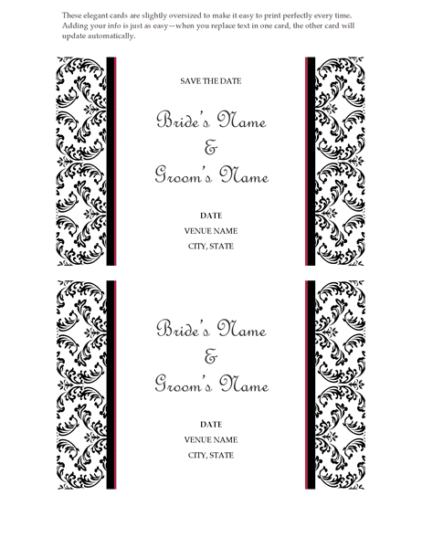 Wedding Save The Date Card Black And White Design