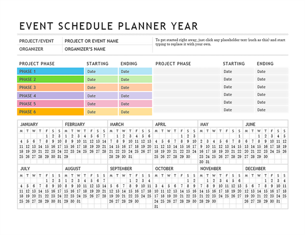 Event planner for Wedding planning schedule template