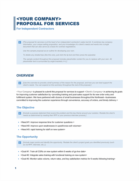 Services proposal (Business Blue design) - Office Templates