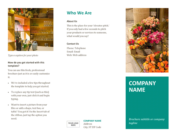 Brochure office templates for Microsoft word pamphlet