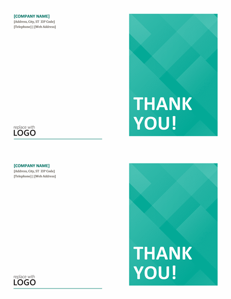 Thank you note cards (2 per page) - Office Templates