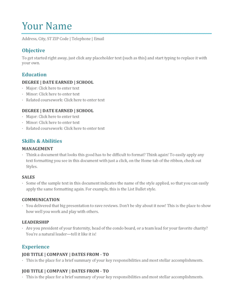 Resume (color) Word  Corporate Word Templates
