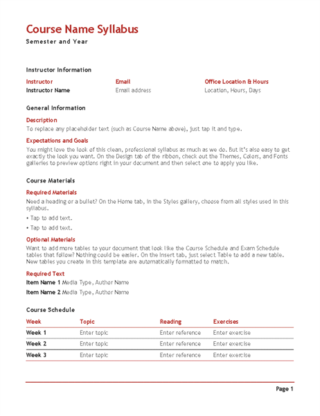 Lesson Plan Office Templates - Word lesson plan template